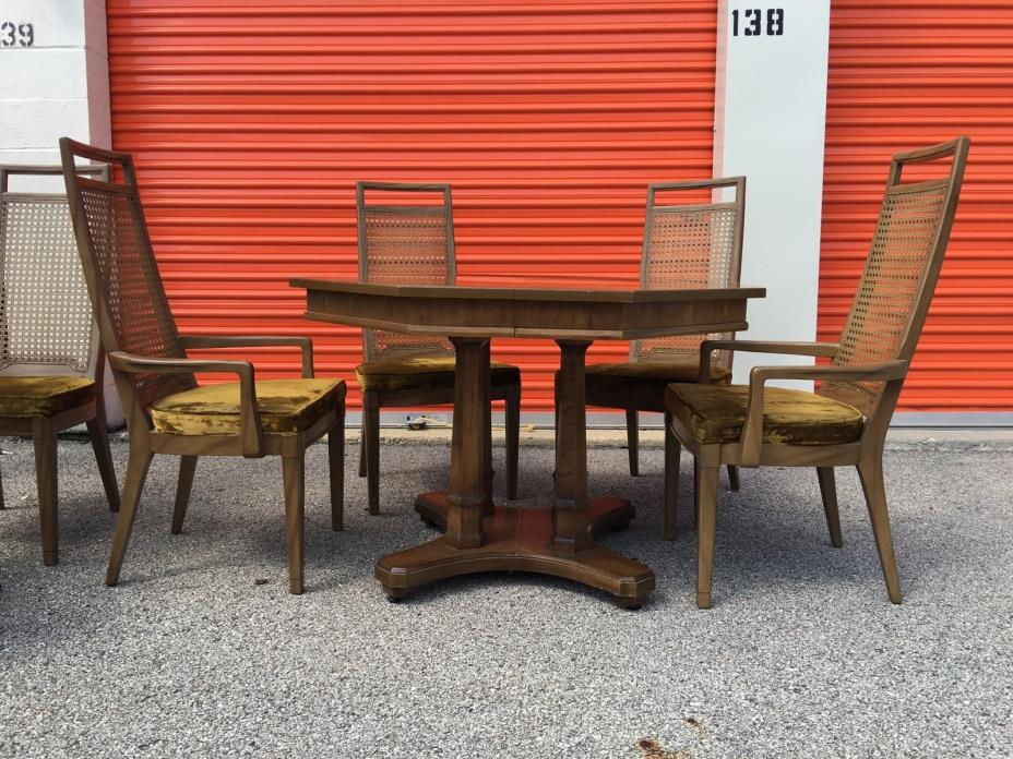 VINTAGE DINING TABLE SET MCM RED LION SOLID WOOD ELM CRUSHED VELVET 6 CHAIRS