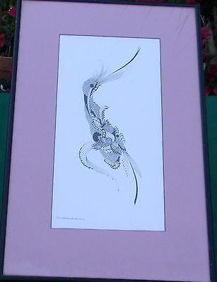 1970 Abstract Bird Drawing Christiana Maintanis Bleecker Warwick RI