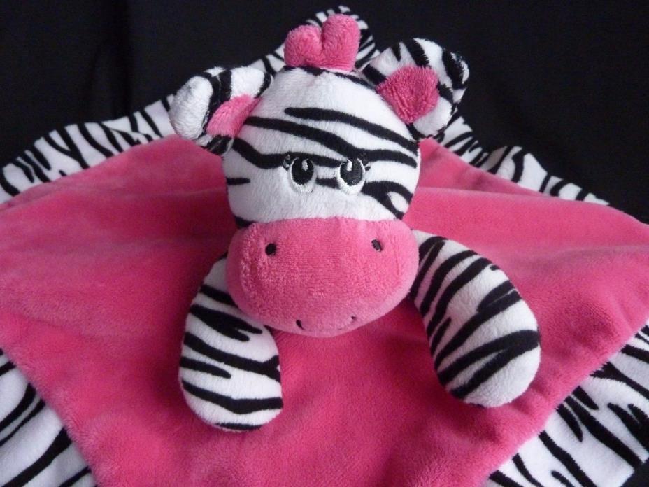 Tender kisses Hot Pink Zebra Baby Blanket Satin Security Lovey