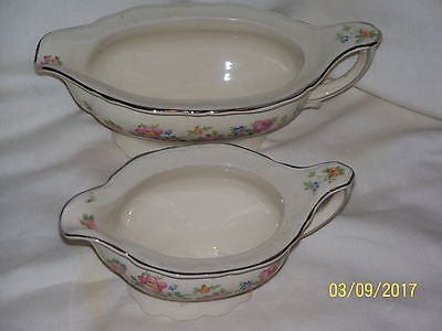 2 EDWIN M. KNOWLES GRAVY OR SAUCE BOWLS FLORAL DESIGN
