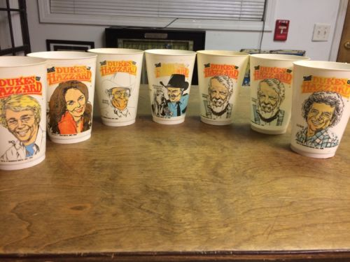 DUKES OF HAZZARD CUPS Vintage McDonalds Plastic COMPLETE SET 1982