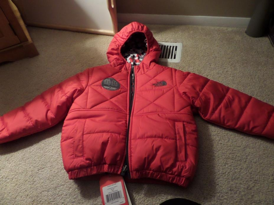 Youth Boys Red Reversible North Face Perrito Red/Gray/black Jacket Size XS 4/5