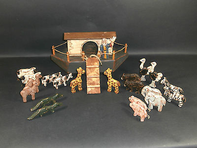 Wonderful Primitive NOAH'S ARK Hand Carved & Painted Boat 20 Animals and NOAH