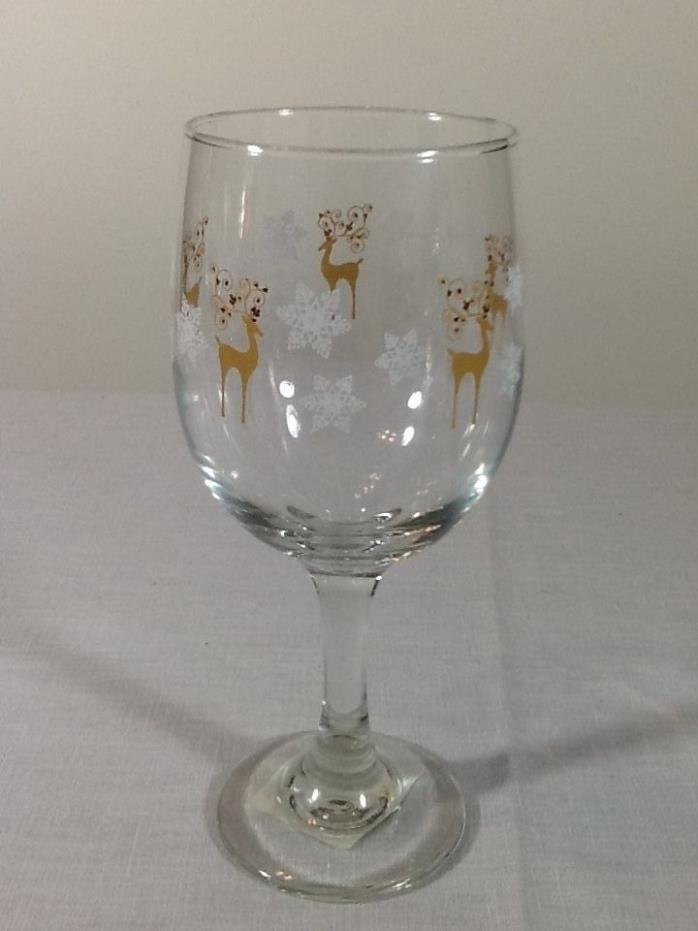 Holiday Raindeer Snowflakes Stemmed Christmas Glass Wine Goblet Glass