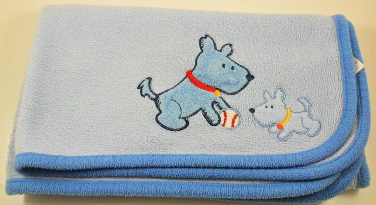 Carter's Puppy Crib Blanket Squeaker Baseball Blue Child of Mine 34