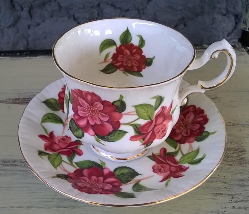 Paragon Camelias Series Huge Red Flowers Tea Cup & Saucer Set Alexander Hunter