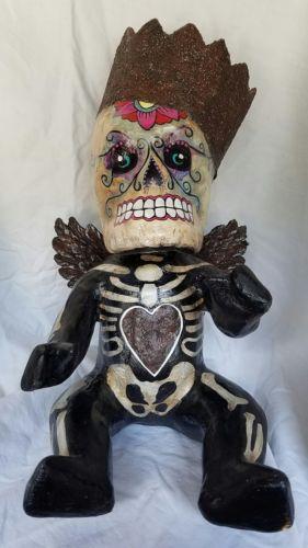 Large Day of the Dead Folk Art Outsider Sculpture Sugar Skull Handmade Doll