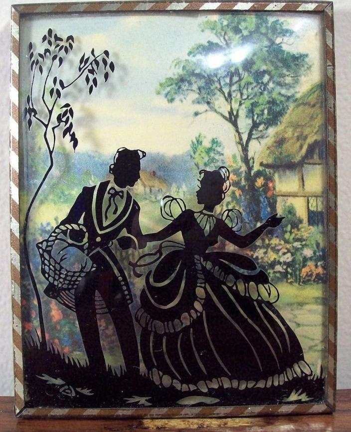Vintage Bubble Glass Reverse Painted Silhouette Couple Going on Picnic