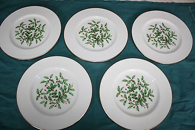 5 Lenox Christmas Holly & Berry 8 3/8 inch Salad Plates Marked Special