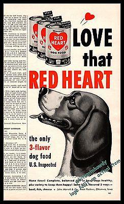 1952 Happy BEAGLE Vintage Print Red Heart Dog Food AD