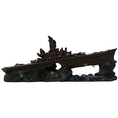 Penn Plax Small Battleship Fish Tank Ornament Decoration