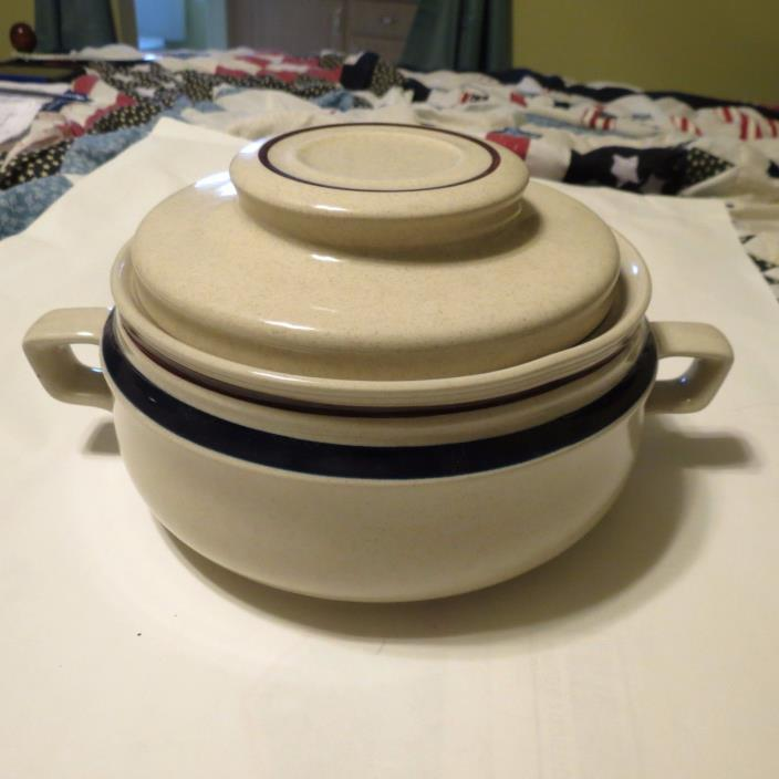 Handpainted Contemporary Chateau Stoneware pot/ Dish with lid