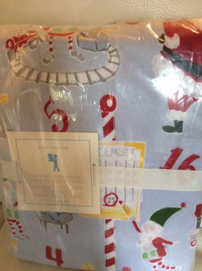 Pottery Barn Kids Santa's Workshop Flannel Twin Duvet NIP Christmas Holiday Blue