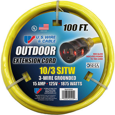 U.S. Wire Outdoor Extension Cord 100' - 10/3 SJTW - 300V - 15A - 1875W