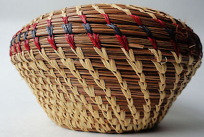 Sweetgrass basket small ethnic hand made origin unknown Africa vintage