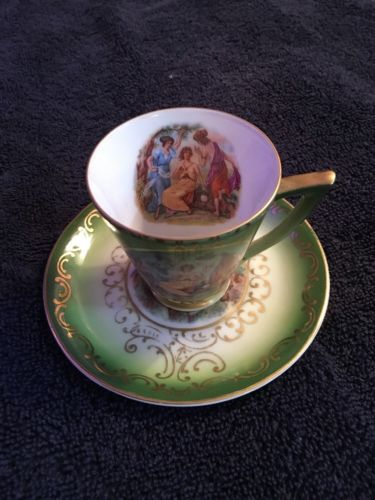 Mitterteich Bavaria Green Demi-Tasse Cup And Saucer #39 Hand Painted Vintage
