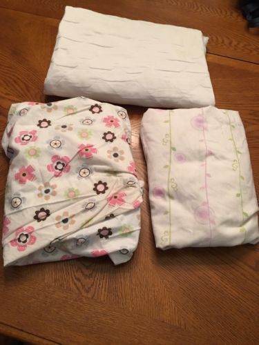 Baby Girl Fitted Crib Sheet Lot 3pc Waterproof Mattress Protector Quilted Pink