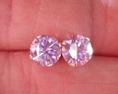 EARRING PAIR SILVER  1.40 TCW  .70 CT 6.00 MM FANCY PRECIOUS PINK MOISSANITE