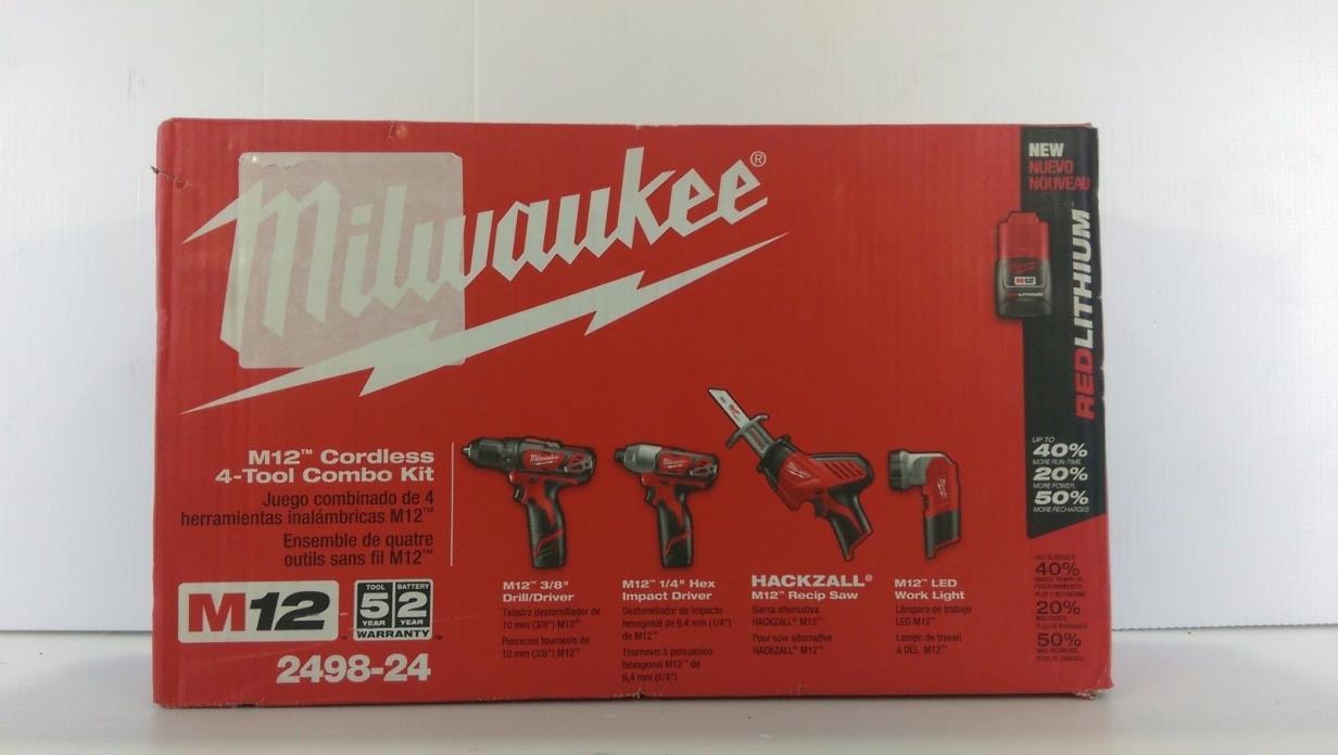 Milwaukee 2498-24 M12 12V 4-Tool Cordless Combo Kit