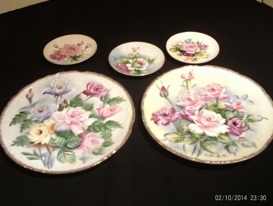 Fine China 5 Rose Collector Plate Lot~ROSES~Vintage~Set Made in Japan GC