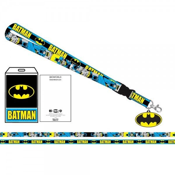 DC Comics BATMAN Neck Lanyard ID Badge Holder Blue Bat Logo Detachable Breakaway