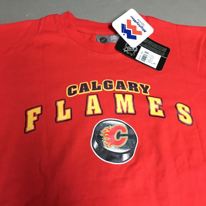 New Calgary Flames Youth M 10 12 Red T-Shirt Mighty Mac NHL Hockey