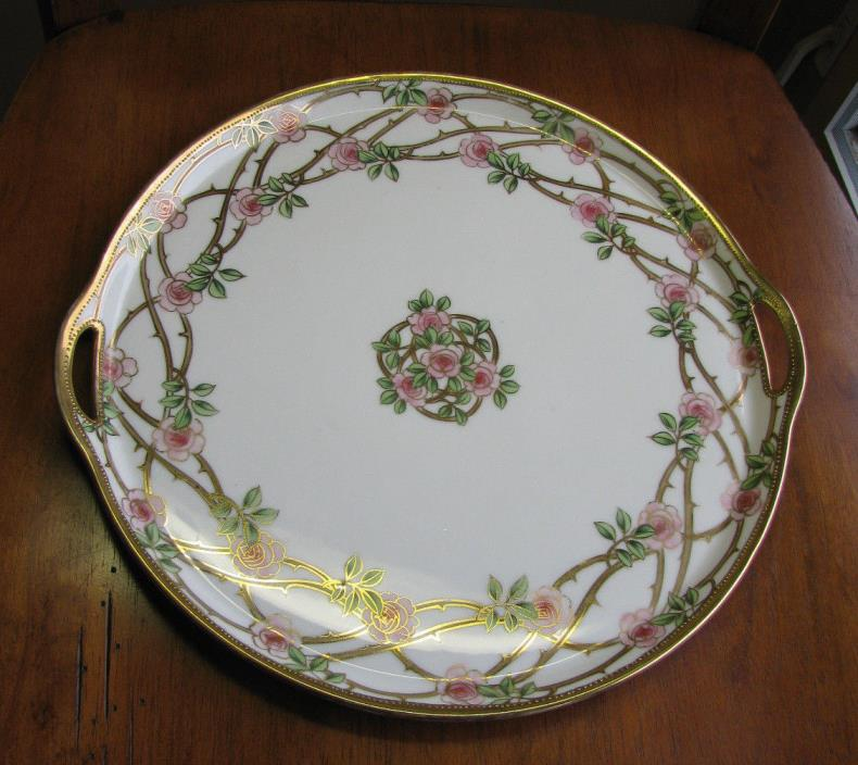 VINTAGE NIPPON Art Deco HAND PAINTED Pink ROSE Vine Cake Dresser Round Tray Gold