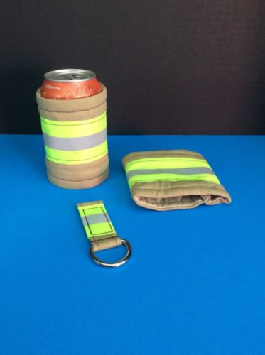 #2184  (2) TURNOUT GEAR DRINK COOZIES WITH GEAR KEY CHAIN