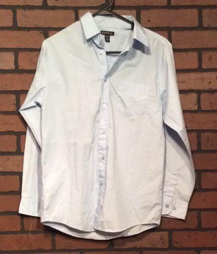 George Shirt Blue XXL 2X Cotton Blend Long Sleeve Button Down Solid Boys  CG43