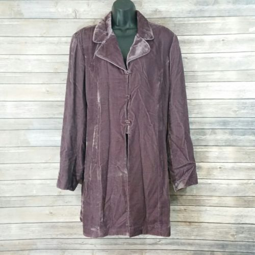 Coldwater Creek Women's 2x Purple Velvet Swim Tunic Coat Jacket Art to Wear