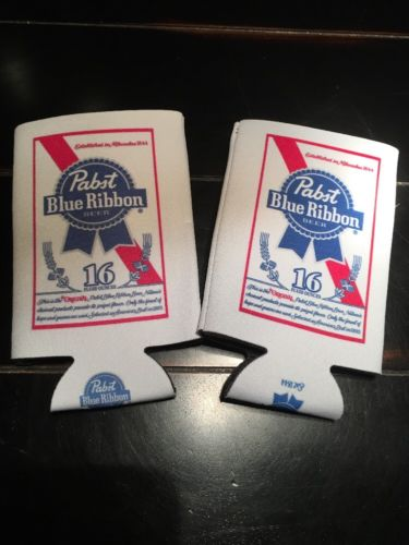 2 Pabst Blue Ribbon Foam Koozie Insulator Huggie 16oz Can