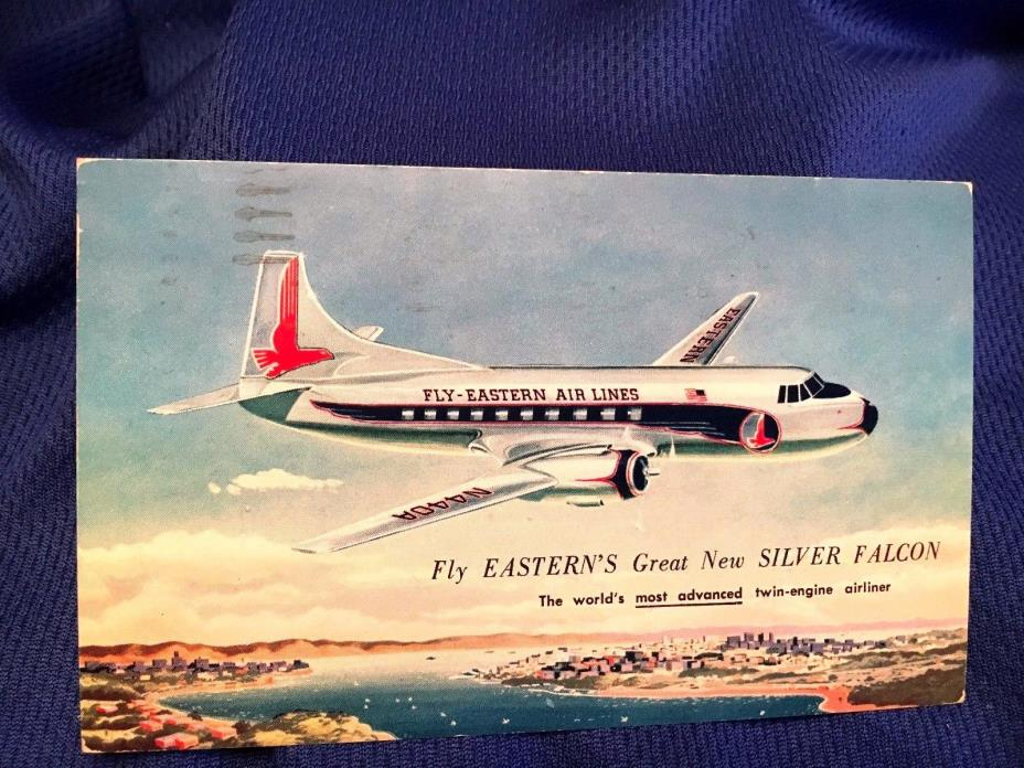 D8 1900's Fly Eastern Air Lines Plane Silver Falcon Twin Engine Airlin Postcard