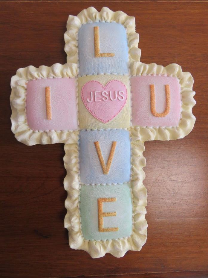Ceramic Cross for Nursery Pastel Quilt