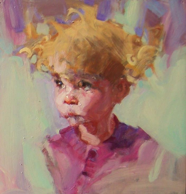 IN THE PINK original small daily painting child 6x6 oil/linen/board