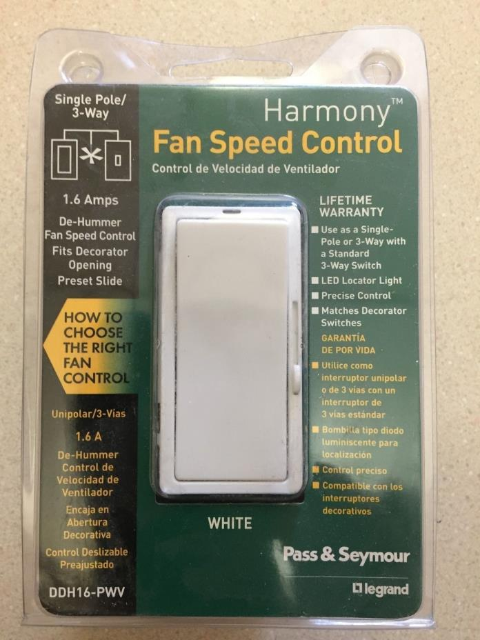 Pass & Seymour Harmony Fan Speed Contol White DDH16-PWV New