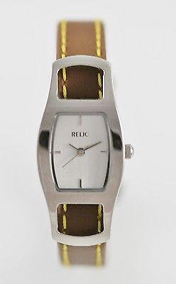 Relic Watch Women Brown Leather Stainless Steel Silver Water Resistant Quartz