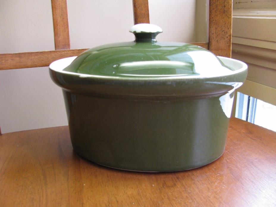 Hall Hotel China Oval Green Covered Casserole w/ lid 7-1/2'' wide X 3 1/2''  USA