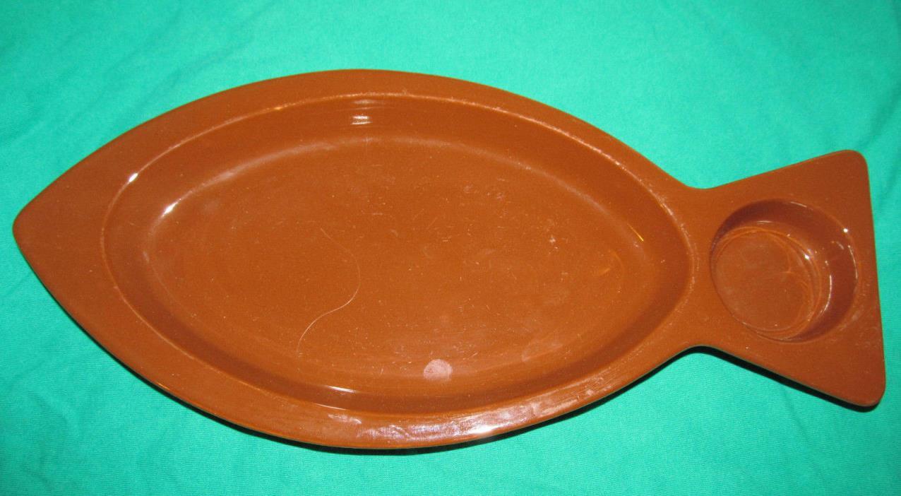 VINTAGE HALL FISH BROWN PLATTER w/DIP HOLDER -#1235 -MADE IN USA -15