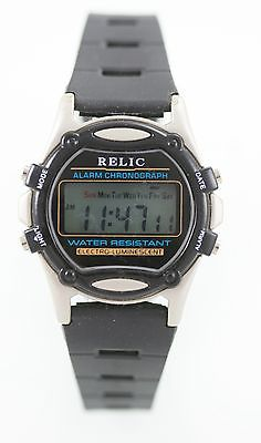 Relic Men's Digital Stainless Steel Day Date Chrono alarm Quartz Battery Watch