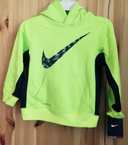 Nike Boys Therma-FIT Fleece Pullover Training Hoodie Neon Green 4T Toddler