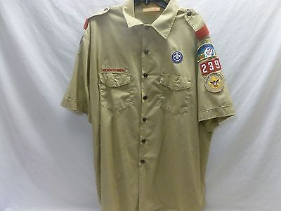 BSA Boy Scout Uniform Mens Leader Shirt Tan Khaki Short Sleeve 2X