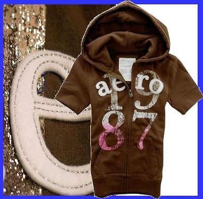 AEROPOSTALE APPLIQUE BROWN SHORT SLEEVE ATHLETIC WARMUP SET HOODY Womens Sz XS