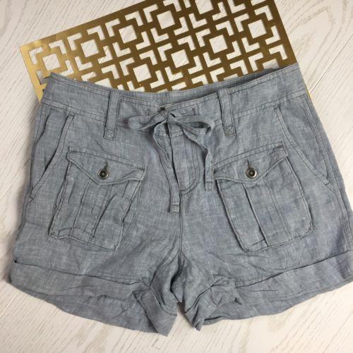 Ann Taylor LOFT Women's 0 Blue 100% Linen Front Flat Pockets Tie Waist Shorts