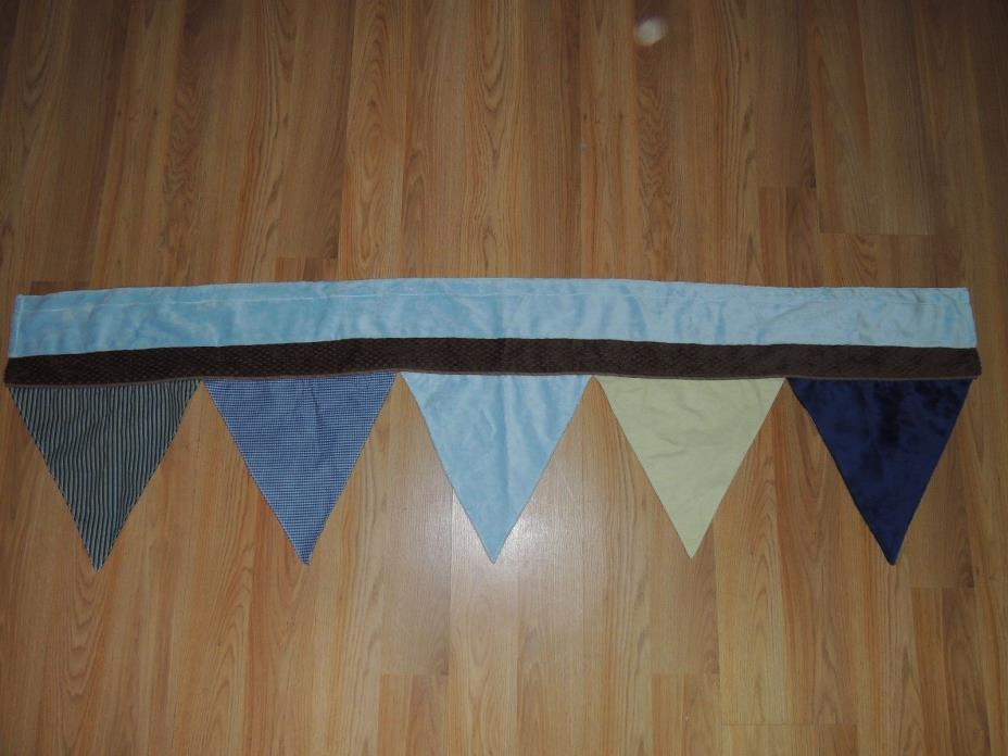NOJO AHOY MATE VALANCE FLAGS BLUE BROWN GREEN BABY NURSERY