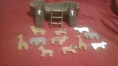 Hand Carved Wooden  Noah's Ark With Animals
