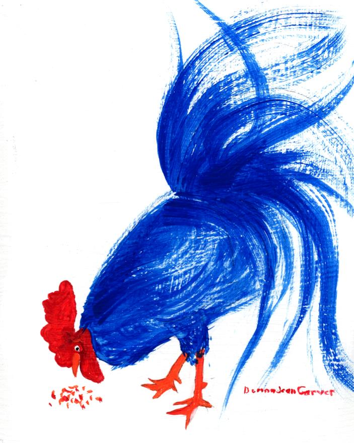 ORIGINAL ARTIST SIGNED ACRYLIC PAINTING OF BLUE & RED CHICKEN ON CANVAS PANEL