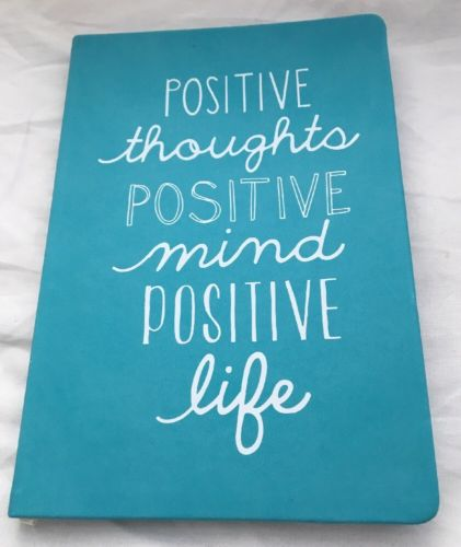 Blank journal Positive Thoughts Positive Life aqua leather-like cover Eccolo