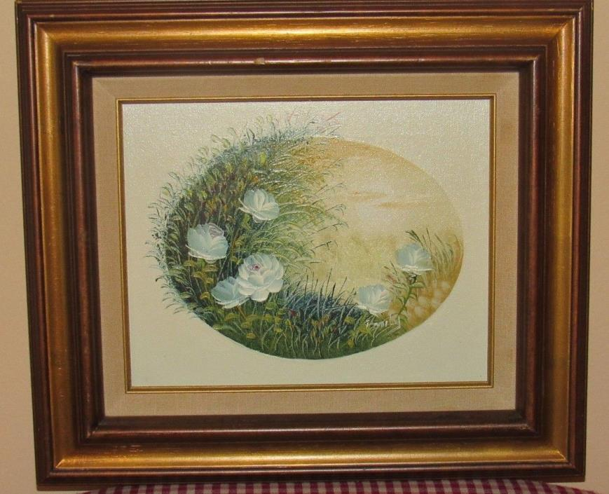 ~Vintage Painting Flowers Oil on Canvas Signed Wood Frame Collectors Corner~