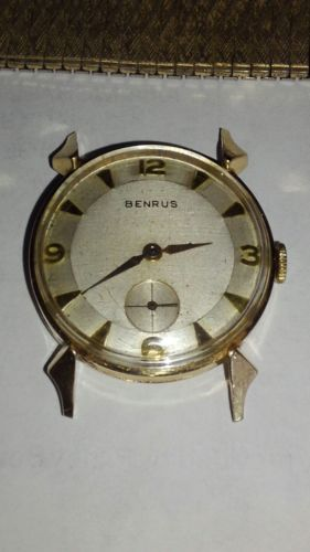 Benrus 14k Gold watch eye of Odin second hand Rare numbered case