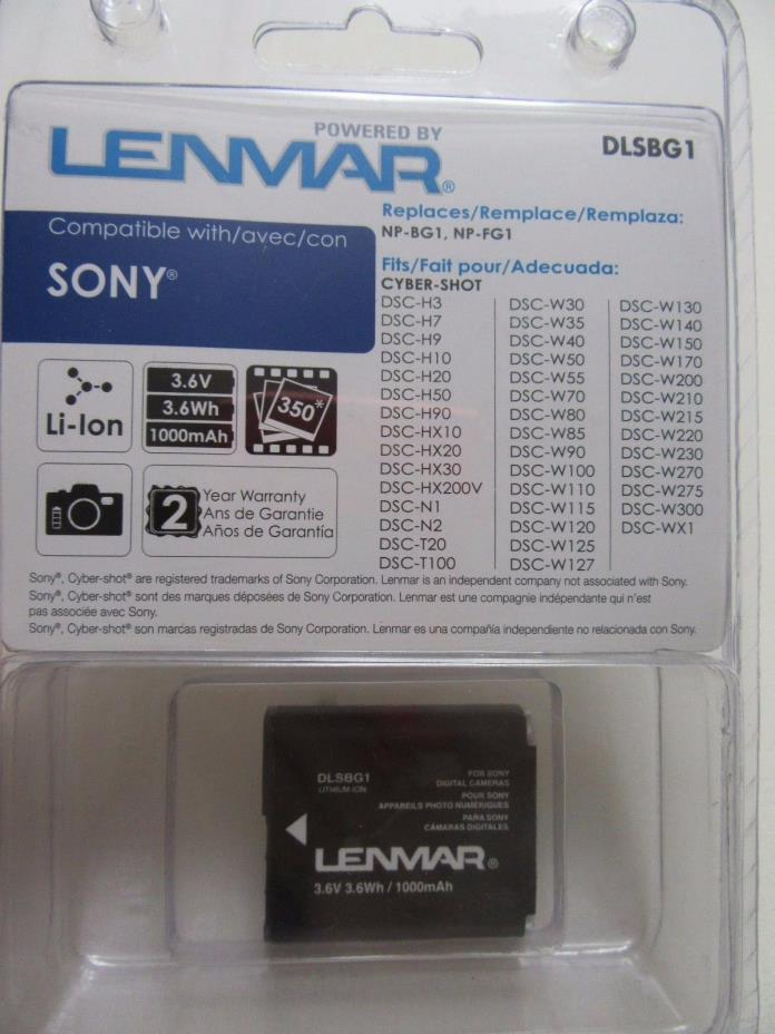 BRAND NEW LENMAR DLSBG1 Sony NP-BG1, NP-FG1 Replacement Battery